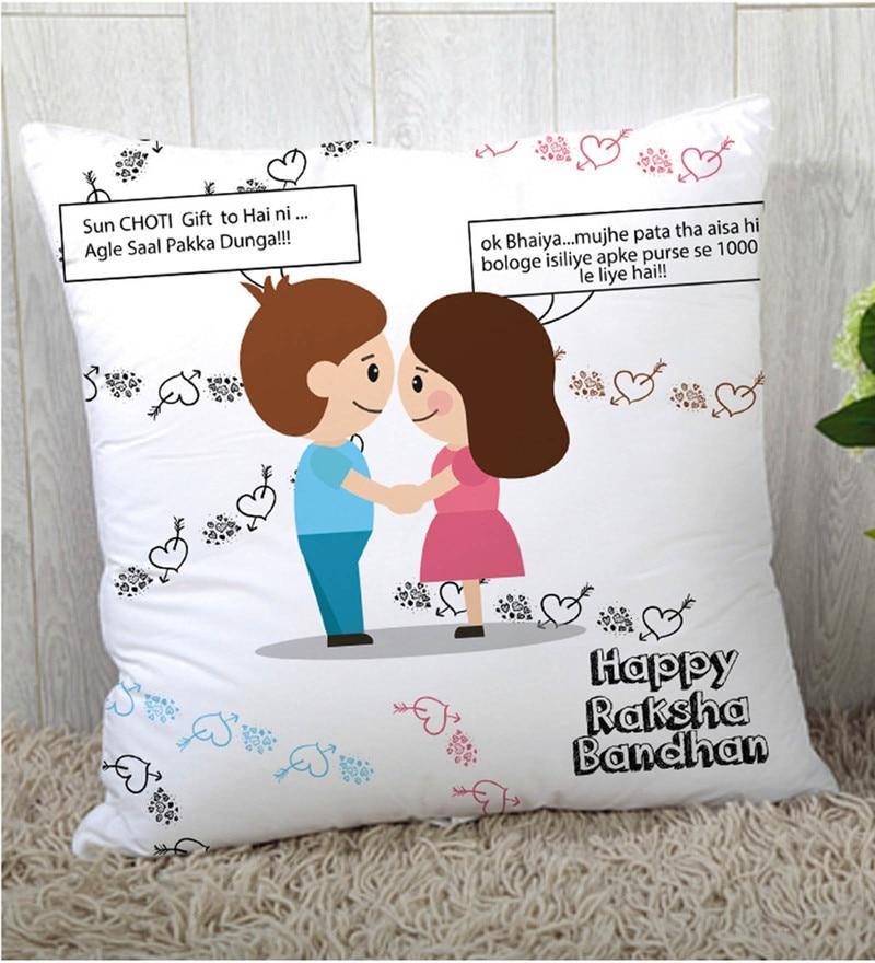 Stybuzz Polyester Multicolour 16 x 16 Inch Rakshbandhan Rakhi Gift Cushion Cover
