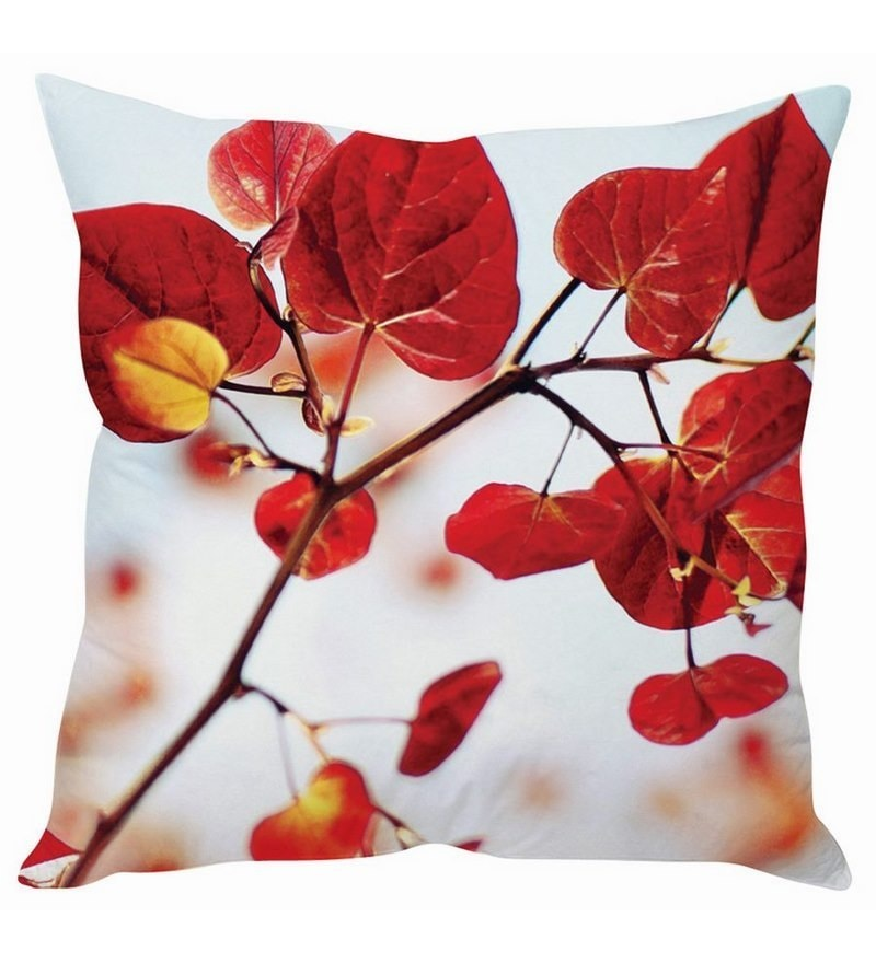Red & White Silk 16 x 16 Inch Cushion Cover by Stybuzz