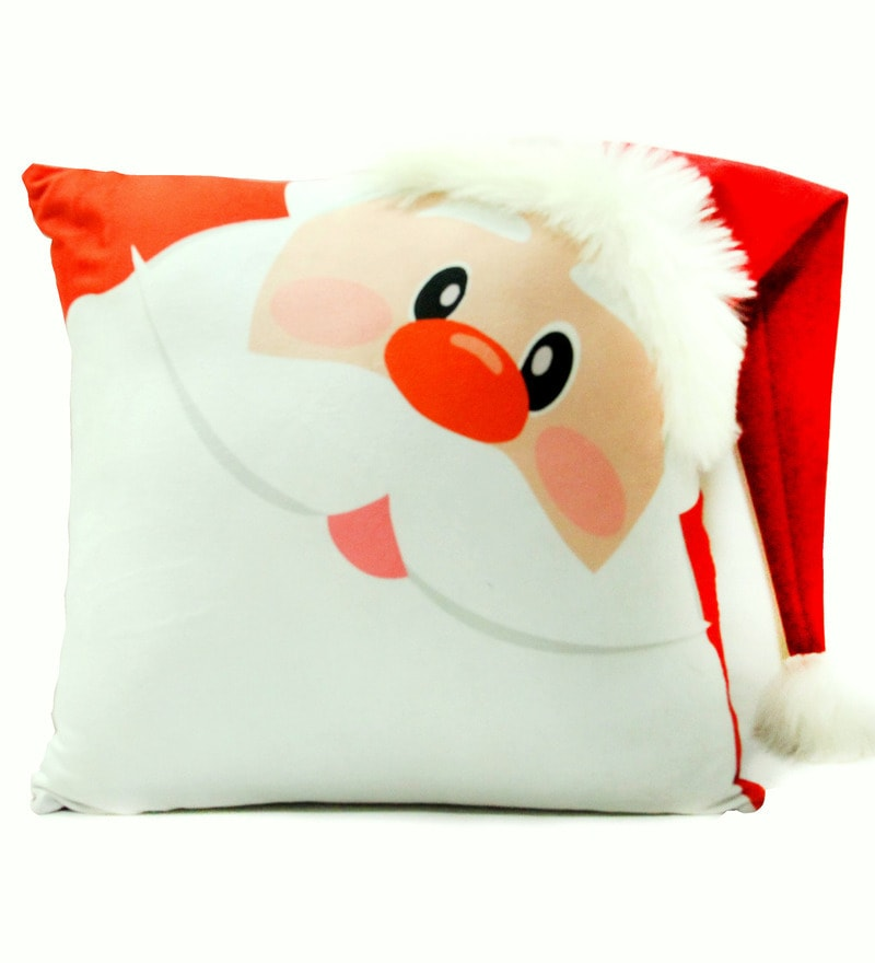Red Velvet 16 x 16 Inch Santa Claus Cushion Cover with Insert by Stybuzz