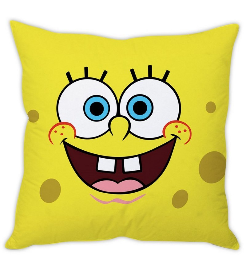 Spongebob White Silk Cushion Cover by Stybuzz
