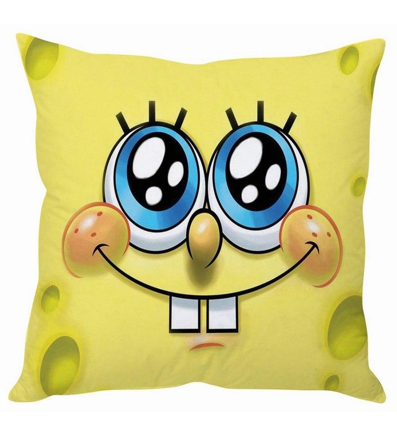Spongebob Face Silk Cushion Cover by Stybuzz
