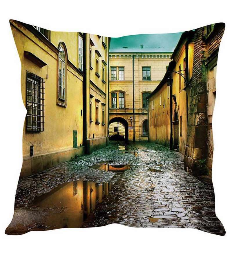 Yellow Silk 16 x 16 Inch Vintage Street Cushion Cover by Stybuzz