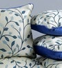 Blue & White Jute 16 x 16 Inch Embroidered Cushion Cover - Set of 5 by Stybuzz