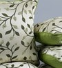 Green & White Jute 16 x 16 Inch Embroidered Cushion Cover - Set of 5 by Stybuzz