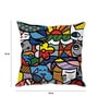Multicolor Silk 16 x 16 Inch Graffiti Art Cushion Cover by Stybuzz