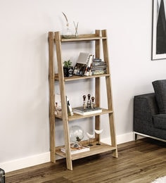 Sumairu Book Shelf Cum Display Unit In Light Walnut Finish