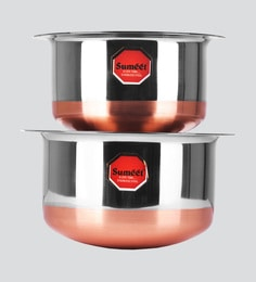 Sumeet Stainless Steel Copper Bottom Cookware Tope Set Of 2 Pcs With Lids (No. 11 - 1.4 Ltr, No. 12 - 1.9 Ltr )