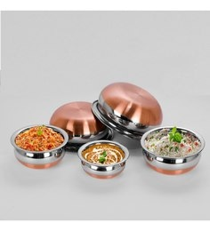 Sumeet Stainless Steel Copper Bottom Prabhu Chetty Handis - Set Of 5