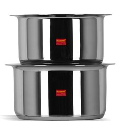 Sumeet Stainless Steel Induction Based Bottom & Gas Stove Friendly Tope With Lids - Set Of 2