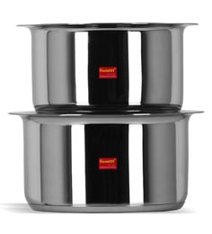 Sumeet Stainless Steel Induction Based Bottom & Gas Stove Friendly Tope With Lids - Set Of 2 - 1668157