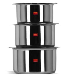 Sumeet Stainless Steel Induction Based Bottom & Gas Stove Friendly Tope With Lids - Set Of 3