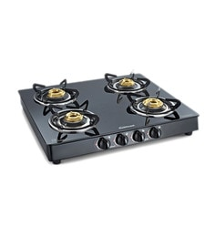 Sunflame Classic 4B BK/SS Auto Extra spacious toughened glass Cooktop at pepperfry