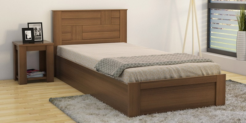 Subaru Single Bed with Box Storage in Bronze Walnut Finish by Mintwud