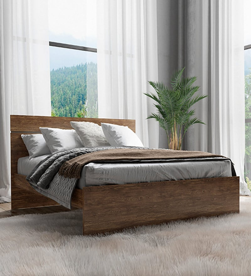 Buy Shinju Queen Size Upholstered Bed With Side Storage In Wenge
