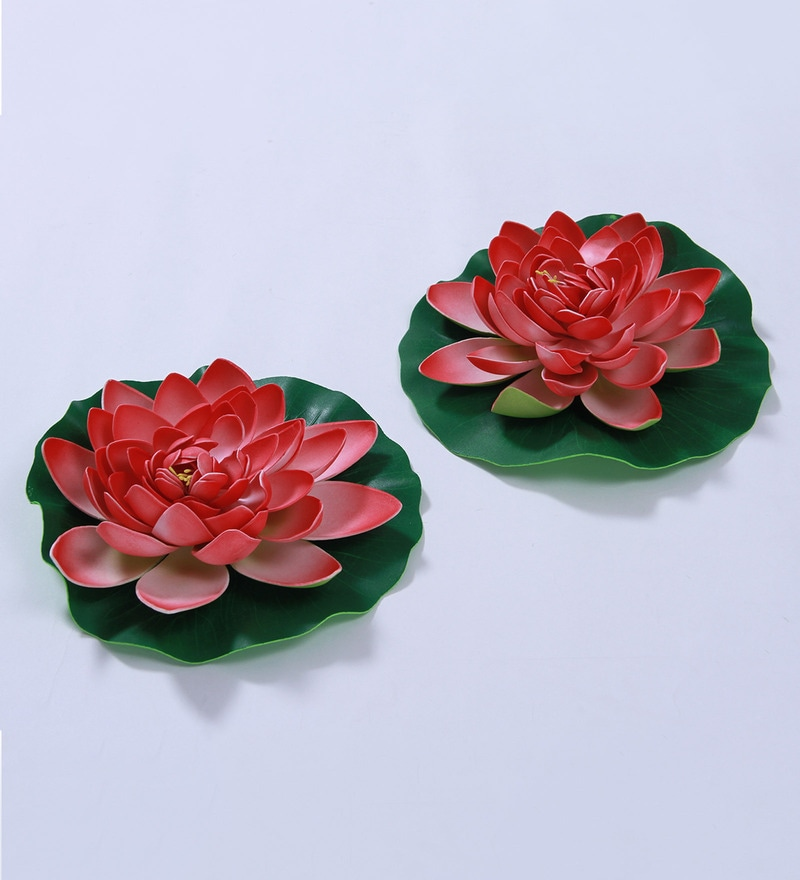 Sun Red Foam Artificial Lotus Flower by Fourwalls - Set of 2