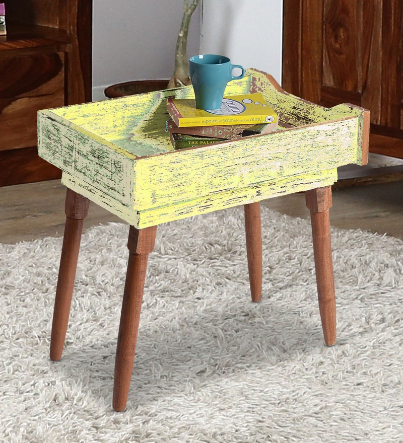 Sunshine End Table in Yellow Distress Finish by Desi Jugaad