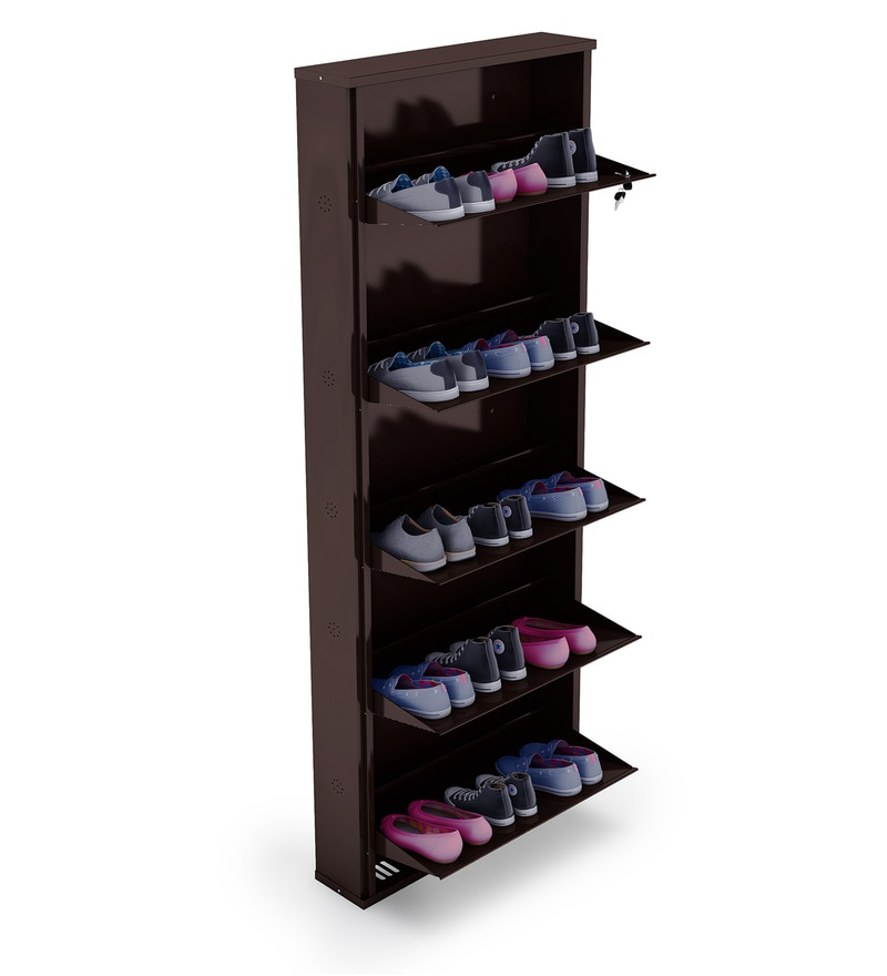 Buy Super Wide Five Door Metal Shoe Rack In Brown Colour
