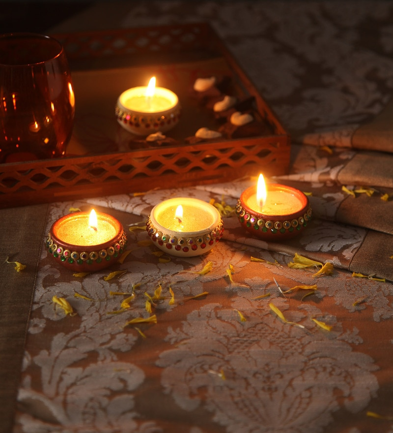 Multicolour Clay Diwali Diya - Set of 4 by Suriti