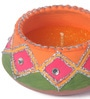 Suriti Multicolour Clay Diwali Diya - Set of 2