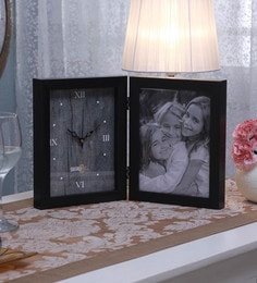 SViRU Black Synthetic And Glass Collage Photo Frame With Clock - 1587914