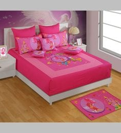 Swayam Fairy King-Size Cotton Bedsheet In Pink With Pillow Covers (Set Of 3)