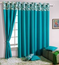 turquoise 100 cotton 60 x 54 inch solid premium lining plain eyelet window curtain
