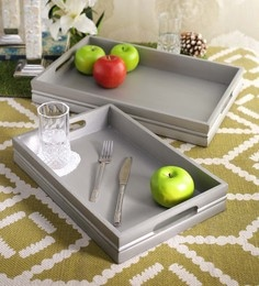 SWHF Grey Pure Wooden Serving Tray - Set Of 2
