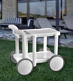 Swing Luxury Service Cum Bar Trolley In White Colour