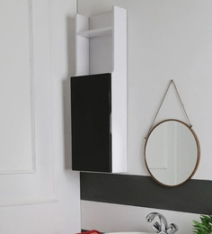 SWK Sanitaryware Noggin Black & White PVC 10 X 5 X 30 Inch Bathroom Cabinet