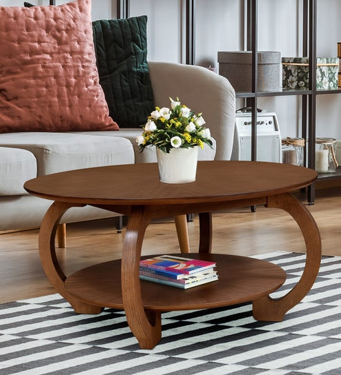 Buy Swirl Coffee Table In Walnut Colour By Home Online Round Coffee Tables Tables Furniture Pepperfry Product