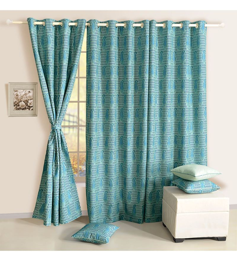 Aqua Faux Silk & Polyester 90 x 48 Inch Ethnic Mulberry Lining Door Curtain by Swayam