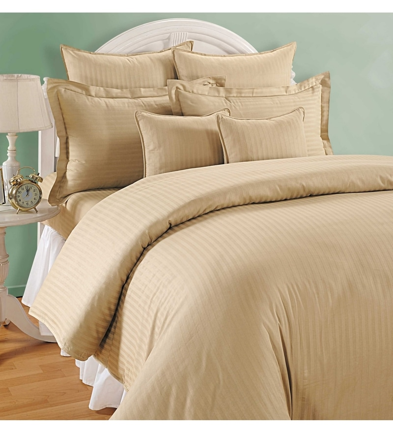 Beige Cotton Queen Size Bed Sheet - Set of 3 by Swayam