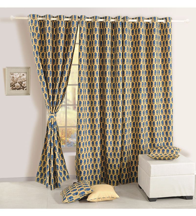Beige Faux Silk & Polyester 90 x 48 Inch Ethnic Mulberry Lining Door Curtain by Swayam