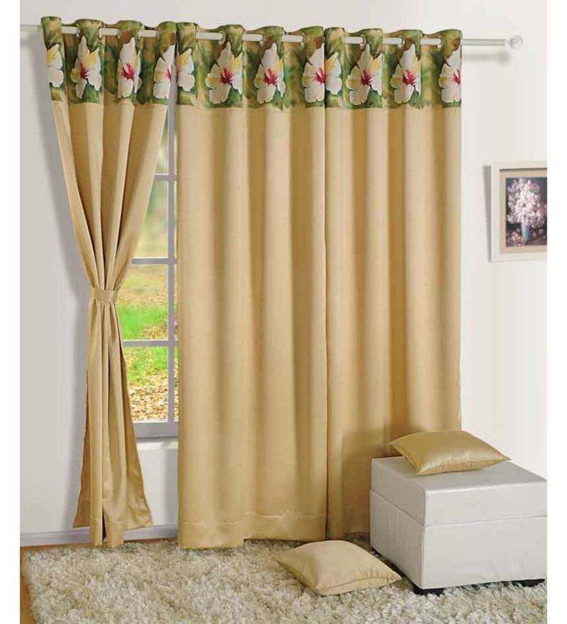 Beige Faux Silk Ethnic Blackout Eyelet Curtain by Swayam