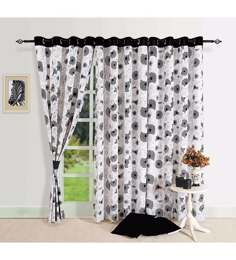 Black Cotton Geometrical Printed Eyelet Curtain by Swayam