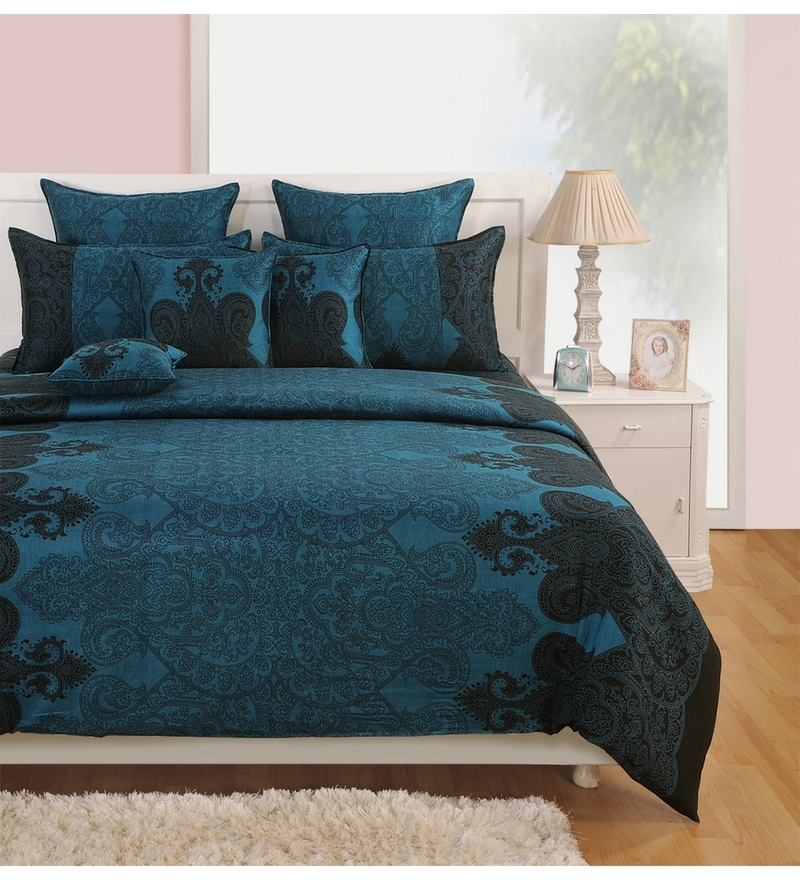 Black Cotton Queen Size Bedding Set - Set of 4 by Swayam