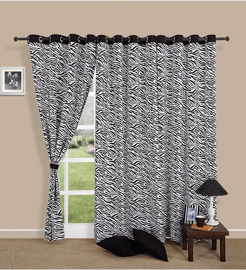 Black Cotton Zebra Printed Eyelet Curtain by Swayam