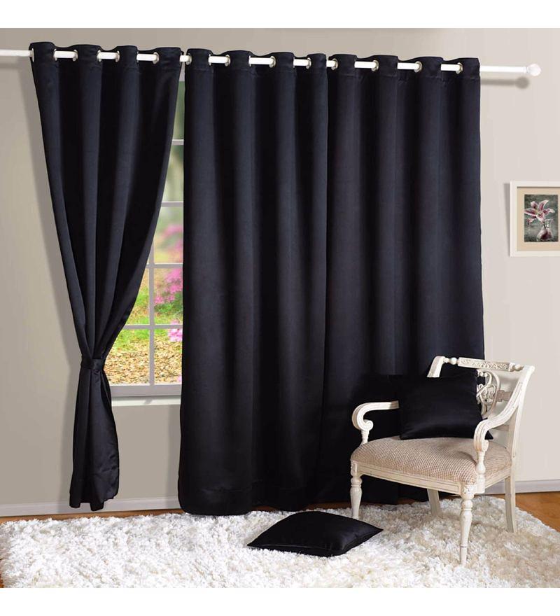 Black Faux Silk 60 x 48 Inch Solid Blackout Eyelet Window Curtain by Swayam