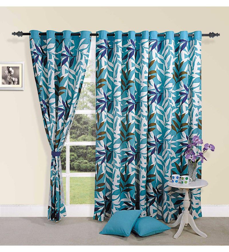 Blue Cotton Leaf Printed Eyelet Curtain by Swayam