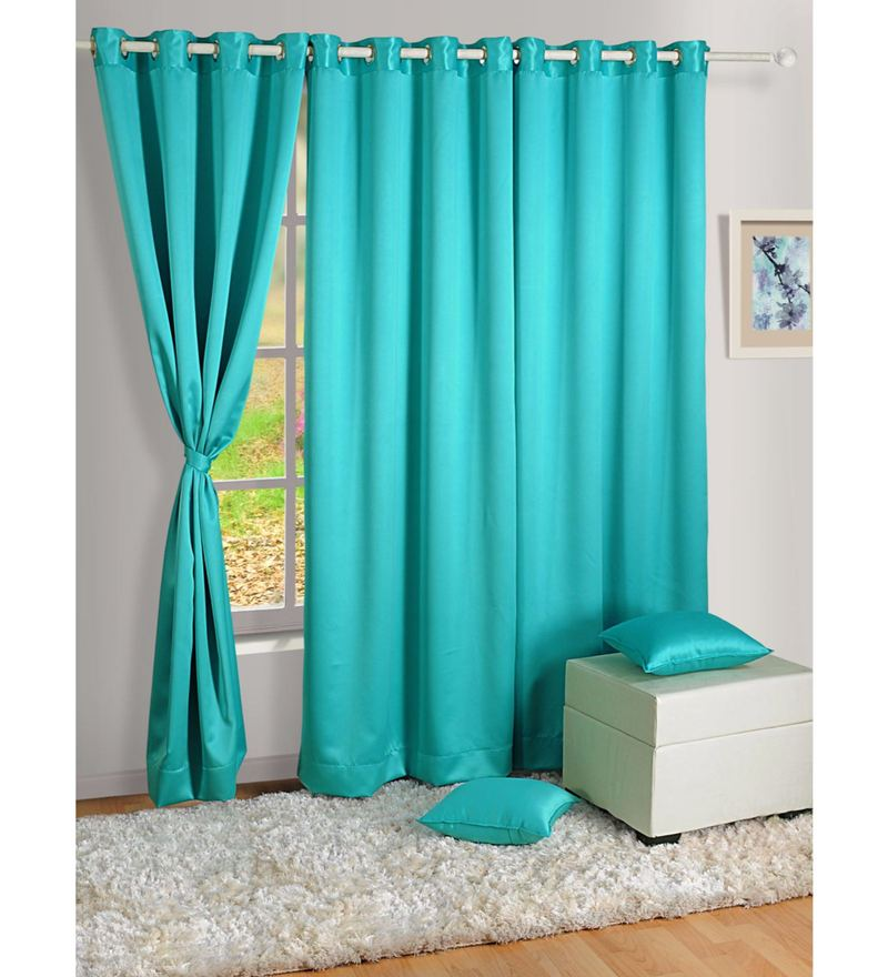 Blue Faux Silk 60 x 48 Inch Solid Blackout Eyelet Window Curtain by Swayam