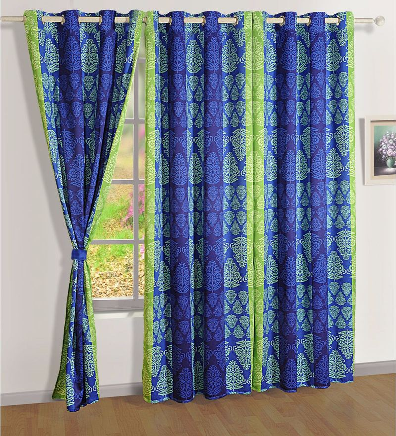 Blue Faux Silk Ethnic Sigma Eyelet Curtain by Swayam