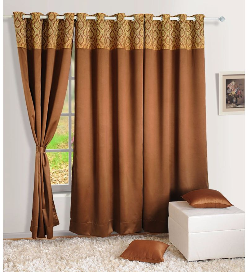 Brown Faux Silk 60 x 48 Inch Solid PNP Blackout Eyelet Window Curtain by Swayam
