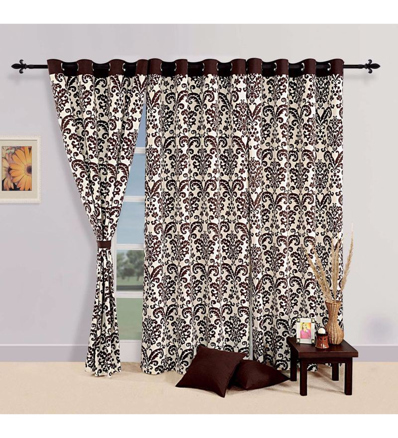 Choco 100% Cotton 60 x 54 Inch Ethnic Printed Eyelet Window Curtain by Swayam