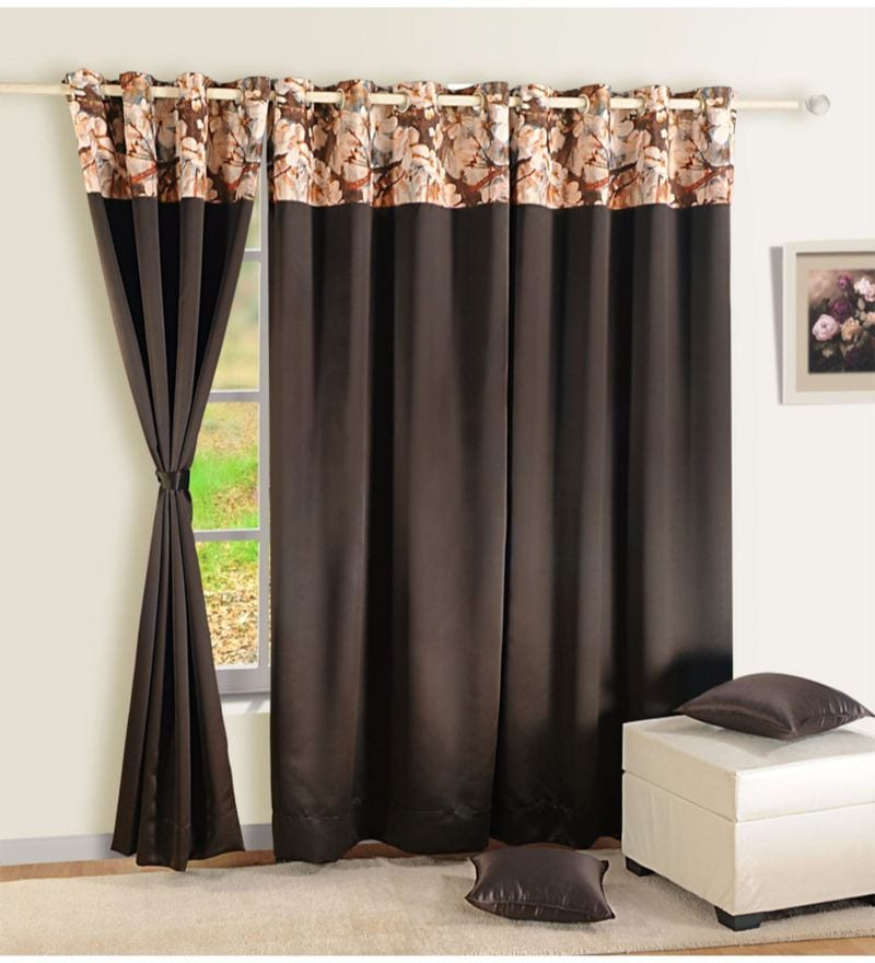 Chocolate Brown Faux Silk 60 x 48 Inch Solid PNP Blackout Eyelet Window Curtain by Swayam