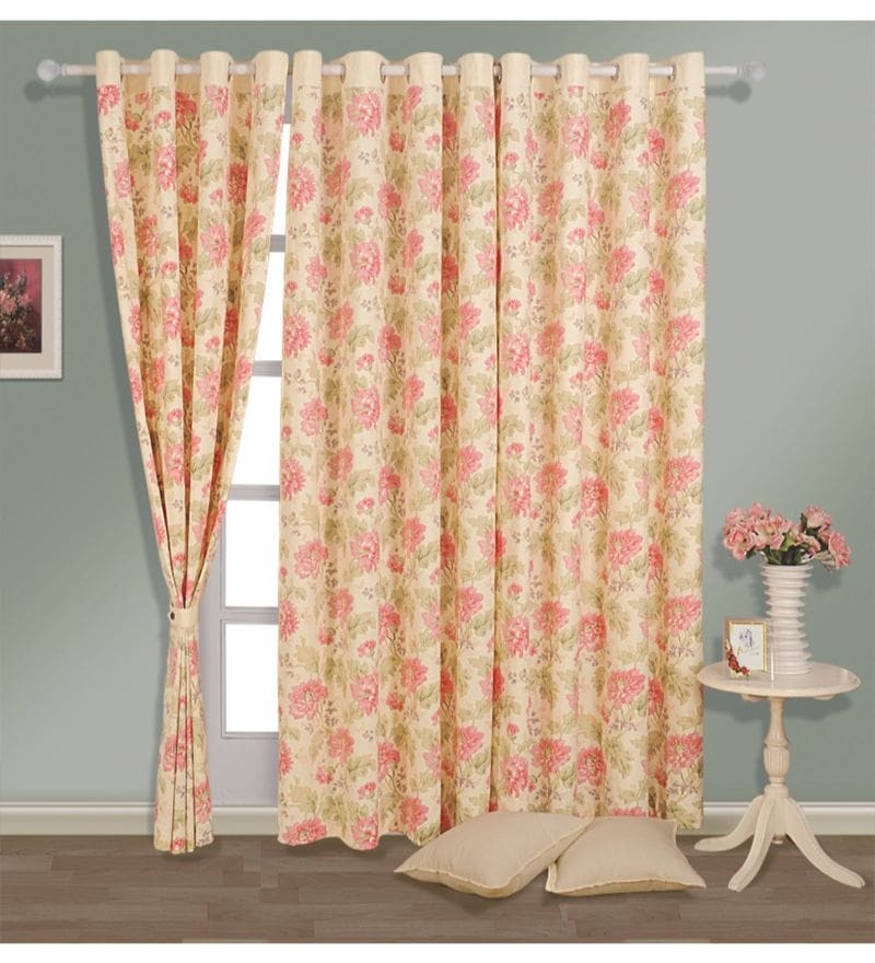Cream 100% Cotton 60 x 54 Inch Floral Printed Eyelet Window Curtain by Swayam