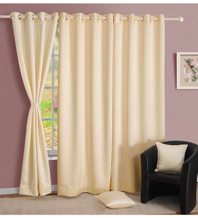 Cream Faux Silk 60 x 48 Inch Solid Blackout Eyelet Window Curtain by Swayam