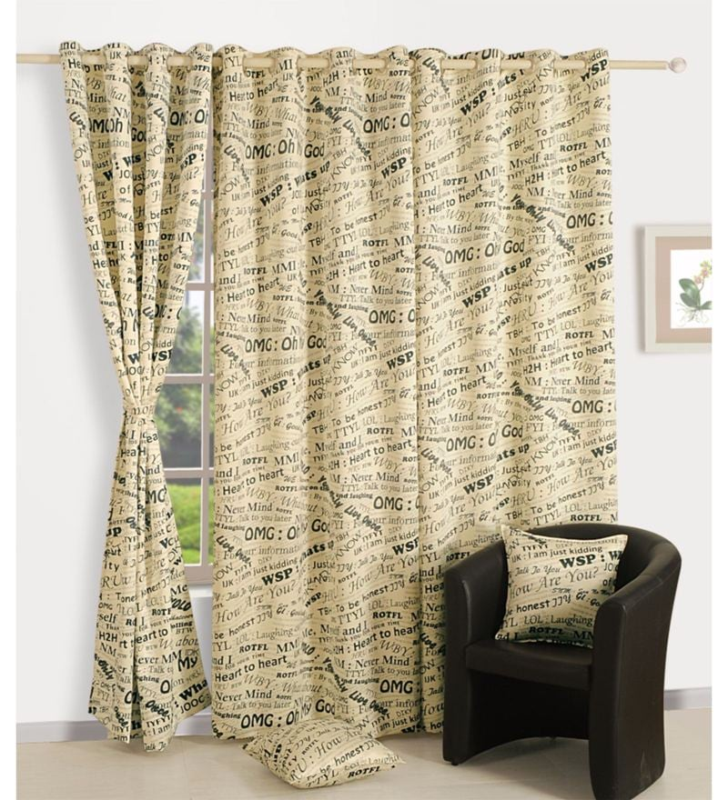 Cream Faux Silk Text Sigma Eyelet Curtain by Swayam