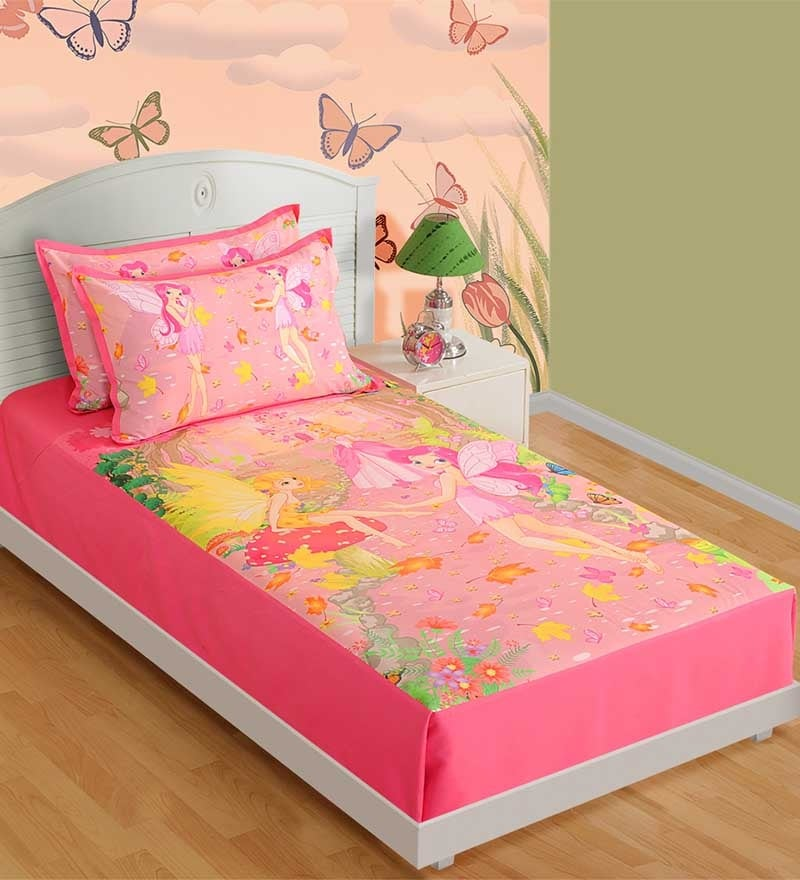 Cotton Single-Size Bedsheet in Pink & White with Pillow Covers by Swayam