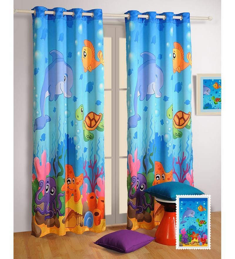 Digital Fishes Printed Kids Silk 60x48 INCH Eyelet Window Curtain by Swayam