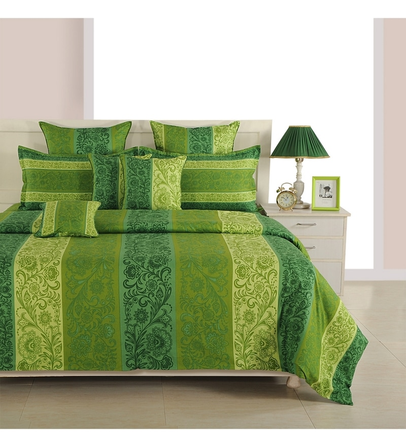 Green Cotton Queen Size Bed Sheet - Set of 3 by Swayam